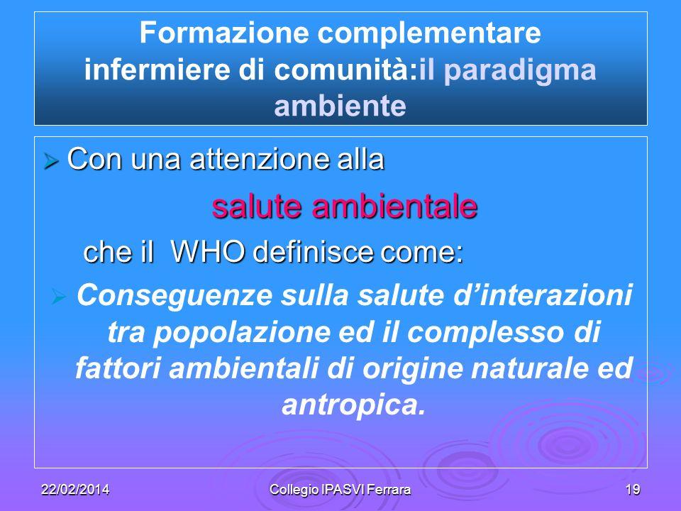 22/02/2014Collegio IPASVI Ferrara19 Con una attenzione alla Con una attenzione alla salute ambientale salute ambientale che il WHO definisce come: che