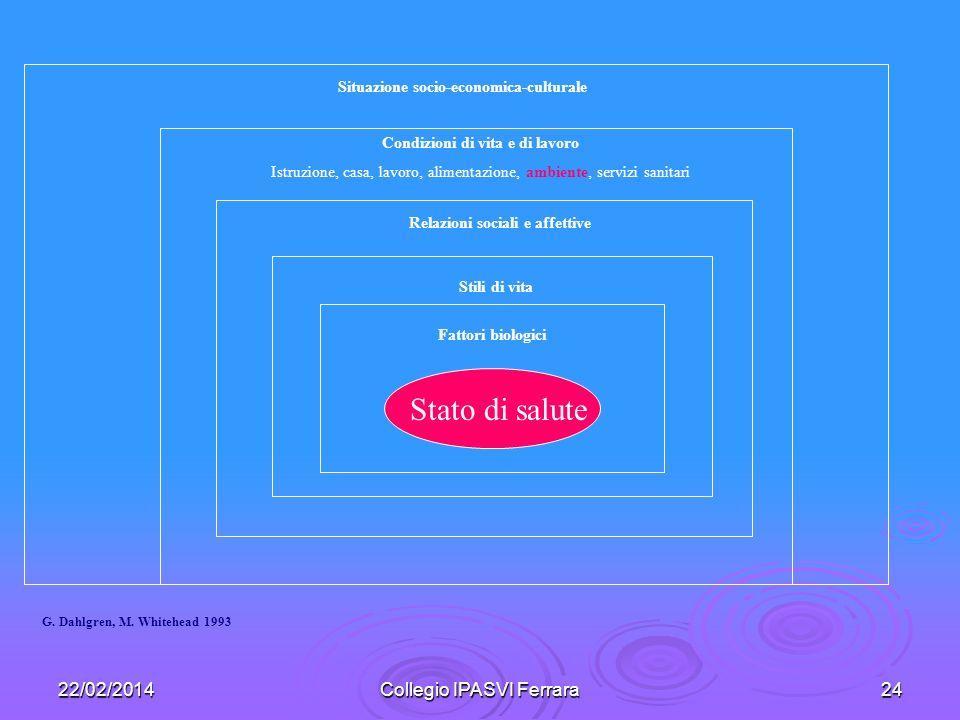 22/02/2014Collegio IPASVI Ferrara24 Stato di salute Fattori biologici Stili di vita Relazioni sociali e affettive Condizioni di vita e di lavoro Istru