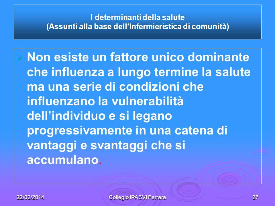 22/02/2014Collegio IPASVI Ferrara27 Non esiste un fattore unico dominante che influenza a lungo termine la salute ma una serie di condizioni che influ