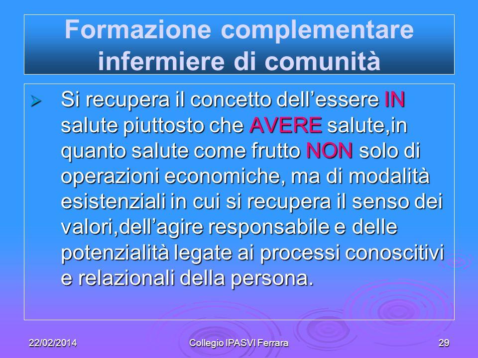 22/02/2014Collegio IPASVI Ferrara29 Formazione complementare infermiere di comunità Si recupera il concetto dellessere IN salute piuttosto che AVERE s