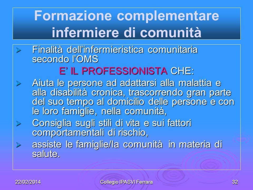 22/02/2014Collegio IPASVI Ferrara32 Finalità dellinfermieristica comunitaria secondo lOMS Finalità dellinfermieristica comunitaria secondo lOMS E IL P