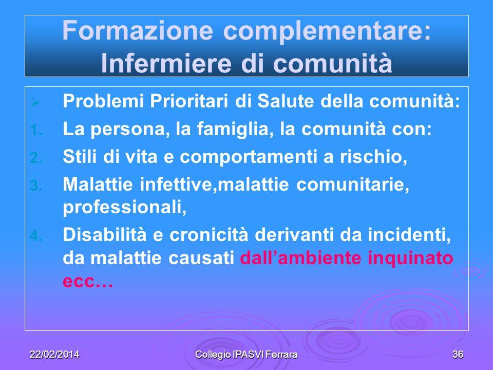 22/02/2014Collegio IPASVI Ferrara36 Formazione complementare: Infermiere di comunità Problemi Prioritari di Salute della comunità: 1. 1. La persona, l