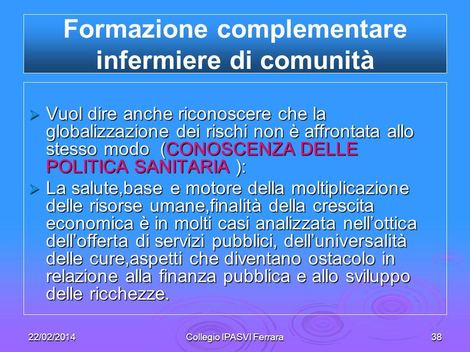 22/02/2014Collegio IPASVI Ferrara38 Vuol dire anche riconoscere che la globalizzazione dei rischi non è affrontata allo stesso modo (CONOSCENZA DELLE
