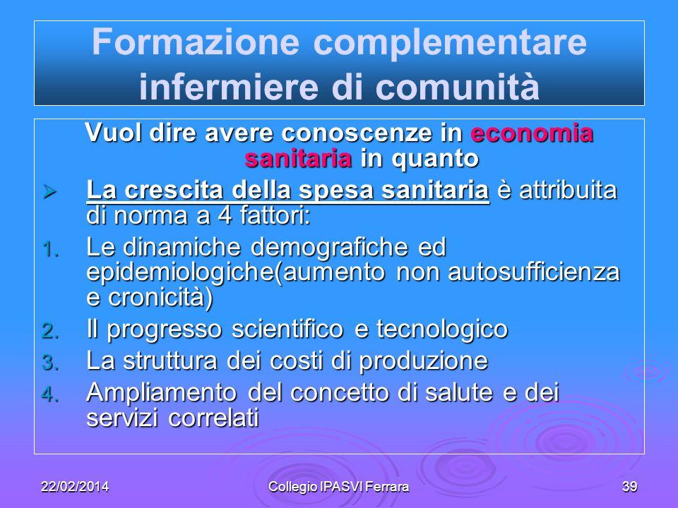 22/02/2014Collegio IPASVI Ferrara39 Formazione complementare infermiere di comunità Vuol dire avere conoscenze in economia sanitaria in quanto La cres