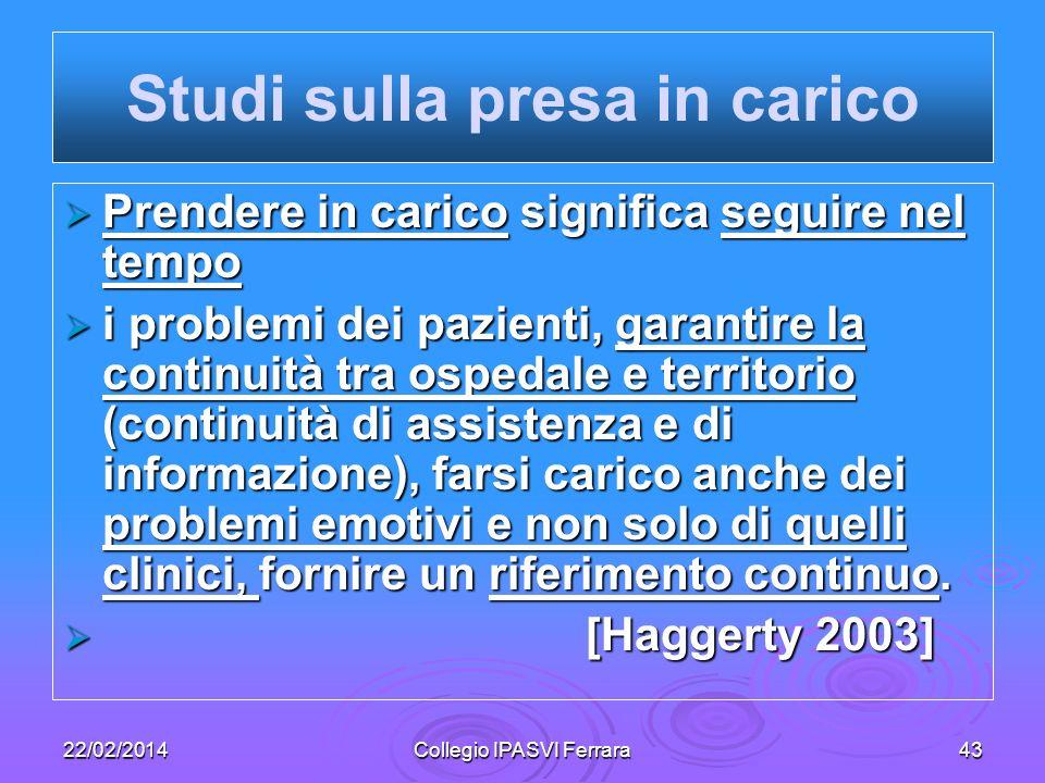 22/02/2014Collegio IPASVI Ferrara43 Prendere in carico significa seguire nel tempo Prendere in carico significa seguire nel tempo i problemi dei pazie