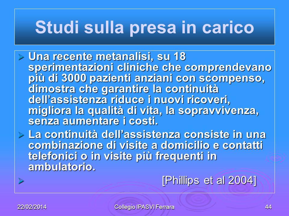 22/02/2014Collegio IPASVI Ferrara44 Studi sulla presa in carico Una recente metanalisi, su 18 sperimentazioni cliniche che comprendevano più di 3000 p