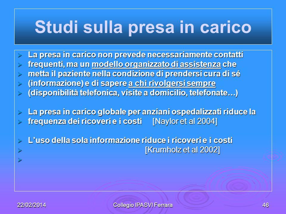 22/02/2014Collegio IPASVI Ferrara46 La presa in carico non prevede necessariamente contatti La presa in carico non prevede necessariamente contatti fr
