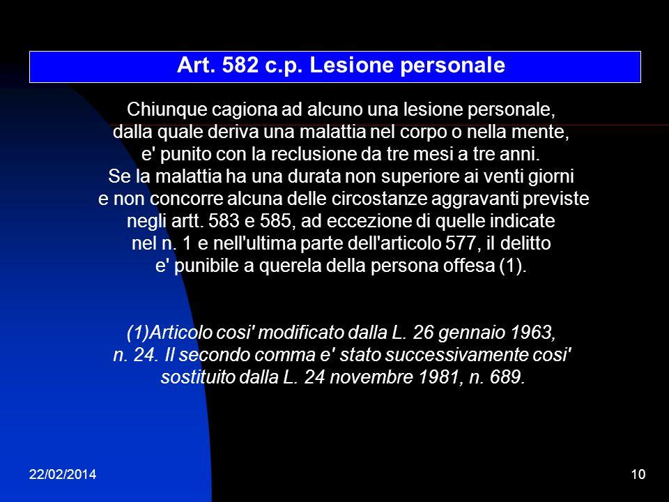 22/02/201410 Art. 582 c.p. Lesione personale Chiunque cagiona ad alcuno una lesione personale, dalla quale deriva una malattia nel corpo o nella mente