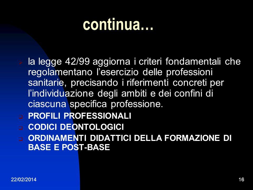 22/02/201416 continua… la legge 42/99 aggiorna i criteri fondamentali che regolamentano lesercizio delle professioni sanitarie, precisando i riferimen