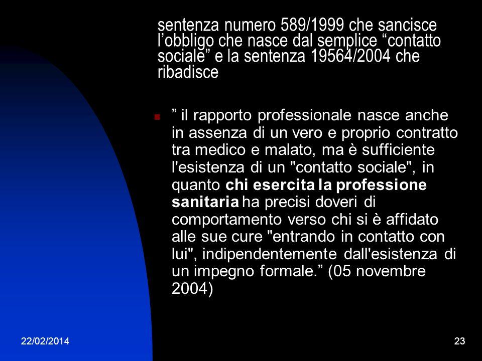 22/02/201423 sentenza numero 589/1999 che sancisce lobbligo che nasce dal semplice contatto sociale e la sentenza 19564/2004 che ribadisce il rapporto