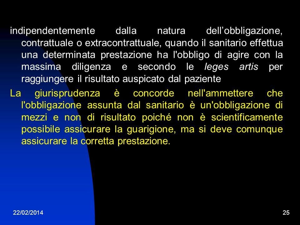 22/02/201425 indipendentemente dalla natura dellobbligazione, contrattuale o extracontrattuale, quando il sanitario effettua una determinata prestazio