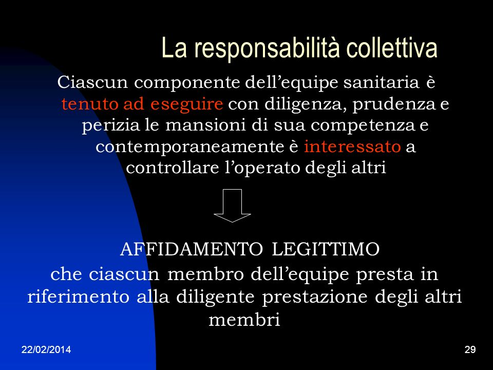 22/02/201429 La responsabilità collettiva Ciascun componente dellequipe sanitaria è tenuto ad eseguire con diligenza, prudenza e perizia le mansioni d