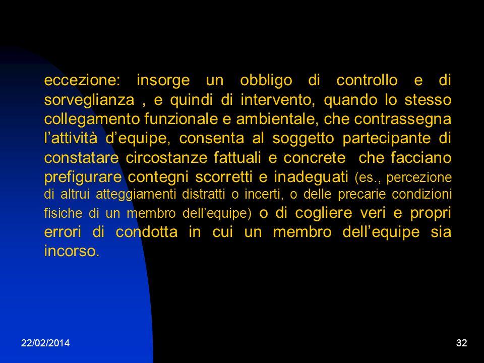 22/02/201432 eccezione: insorge un obbligo di controllo e di sorveglianza, e quindi di intervento, quando lo stesso collegamento funzionale e ambienta