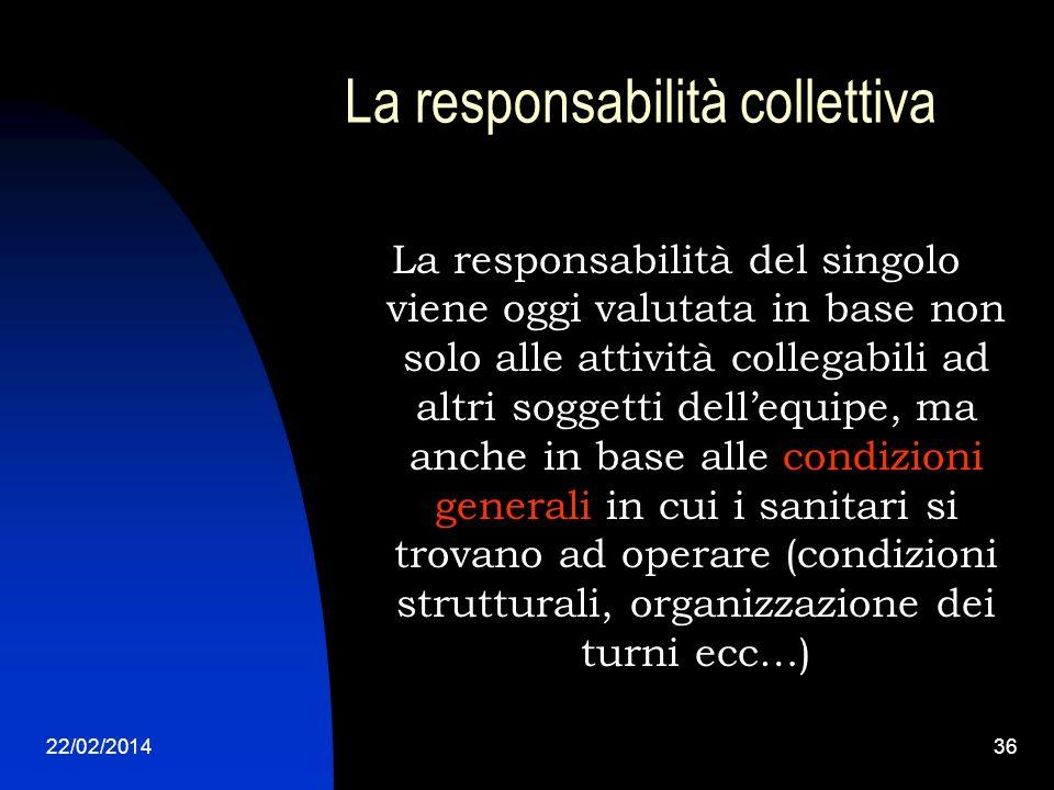 22/02/201436 La responsabilità collettiva La responsabilità del singolo viene oggi valutata in base non solo alle attività collegabili ad altri sogget