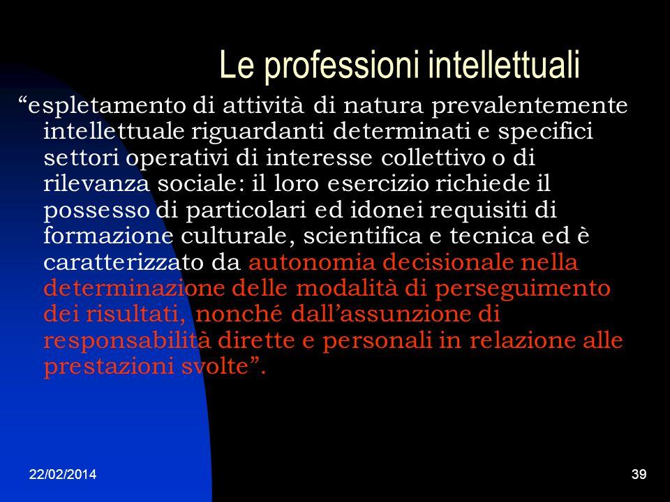 22/02/201439 Le professioni intellettuali espletamento di attività di natura prevalentemente intellettuale riguardanti determinati e specifici settori