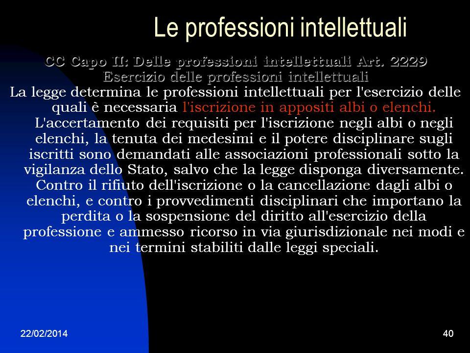 22/02/201440 Le professioni intellettuali CC Capo II: Delle professioni intellettuali Art. 2229 Esercizio delle professioni intellettuali La legge det