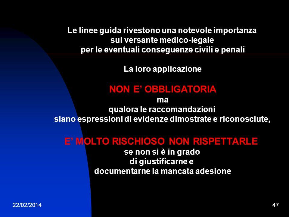 22/02/201447 Le linee guida rivestono una notevole importanza sul versante medico-legale per le eventuali conseguenze civili e penali La loro applicaz