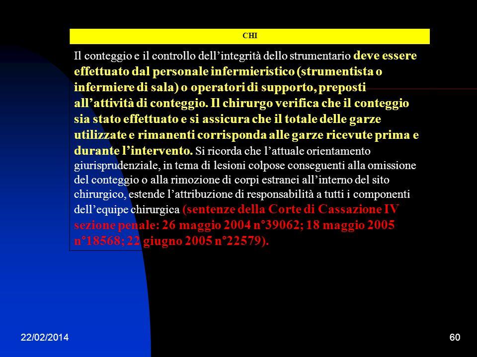22/02/201460 CHI Il conteggio e il controllo dellintegrità dello strumentario deve essere effettuato dal personale infermieristico (strumentista o inf