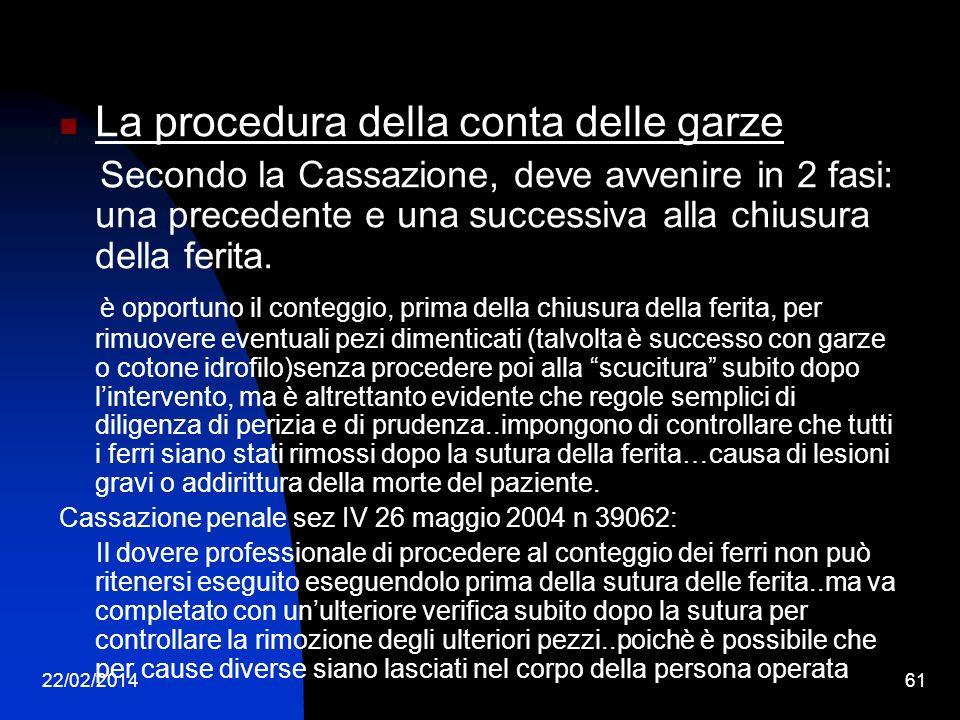 22/02/201461 La procedura della conta delle garze Secondo la Cassazione, deve avvenire in 2 fasi: una precedente e una successiva alla chiusura della ferita.