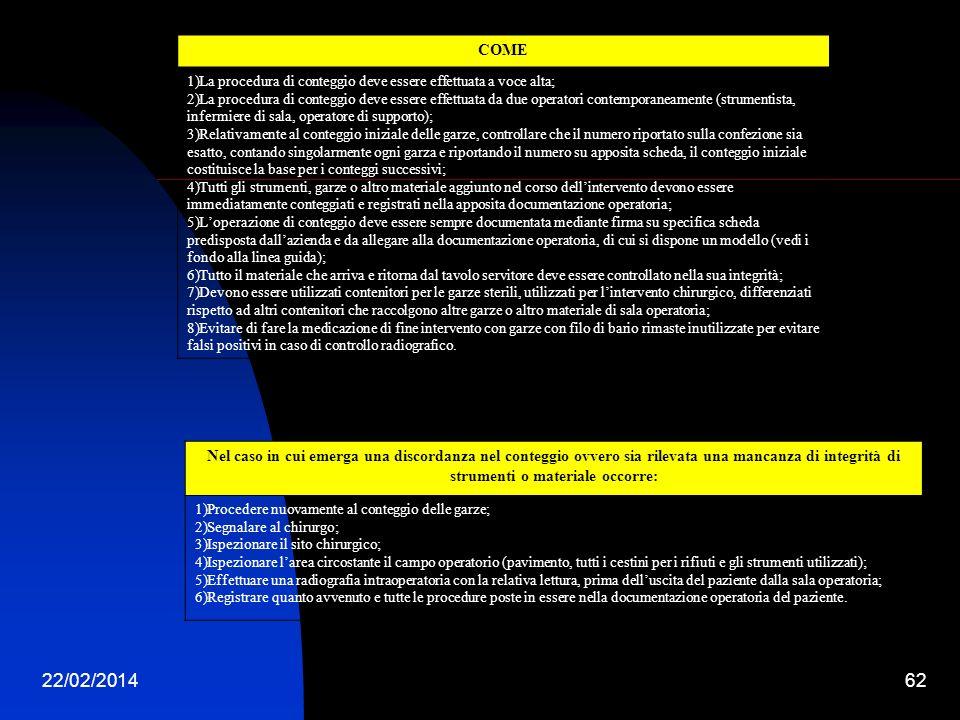 22/02/201462 COME 1)La procedura di conteggio deve essere effettuata a voce alta; 2)La procedura di conteggio deve essere effettuata da due operatori