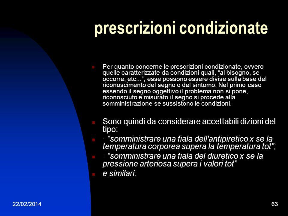 22/02/201463 prescrizioni condizionate Per quanto concerne le prescrizioni condizionate, ovvero quelle caratterizzate da condizioni quali, al bisogno,