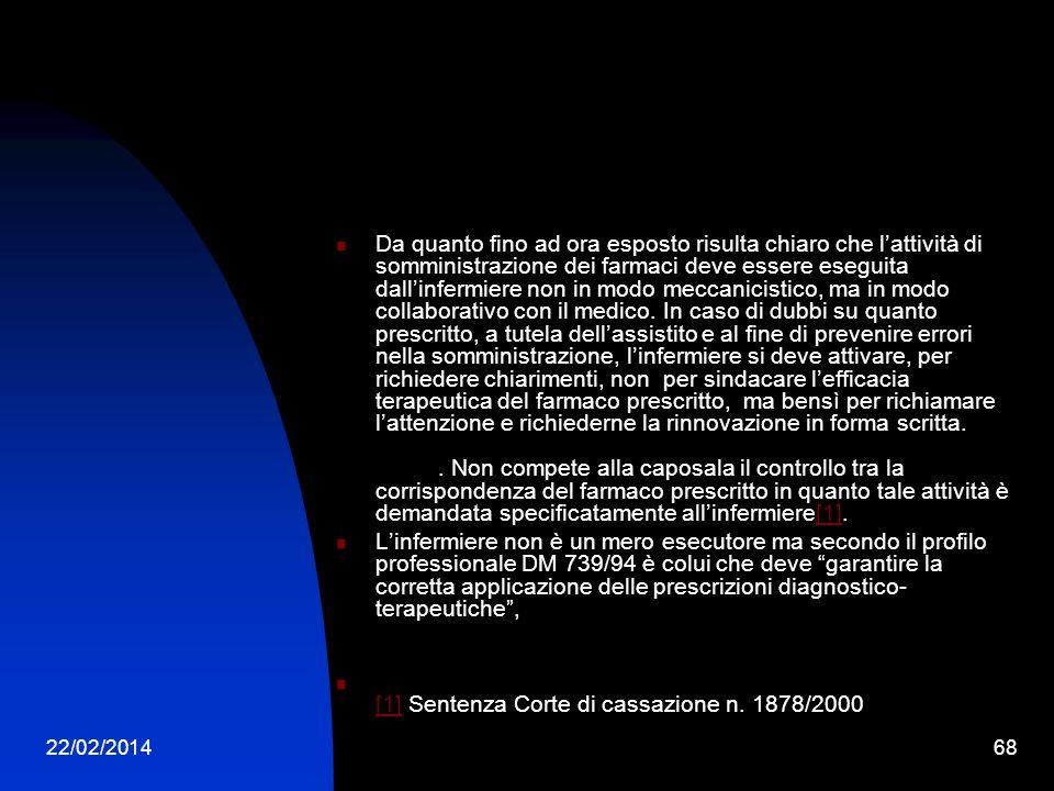 22/02/201468 Da quanto fino ad ora esposto risulta chiaro che lattività di somministrazione dei farmaci deve essere eseguita dallinfermiere non in mod