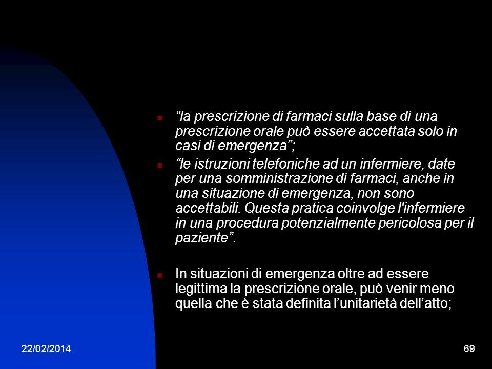 22/02/201469 la prescrizione di farmaci sulla base di una prescrizione orale può essere accettata solo in casi di emergenza; le istruzioni telefoniche ad un infermiere, date per una somministrazione di farmaci, anche in una situazione di emergenza, non sono accettabili.