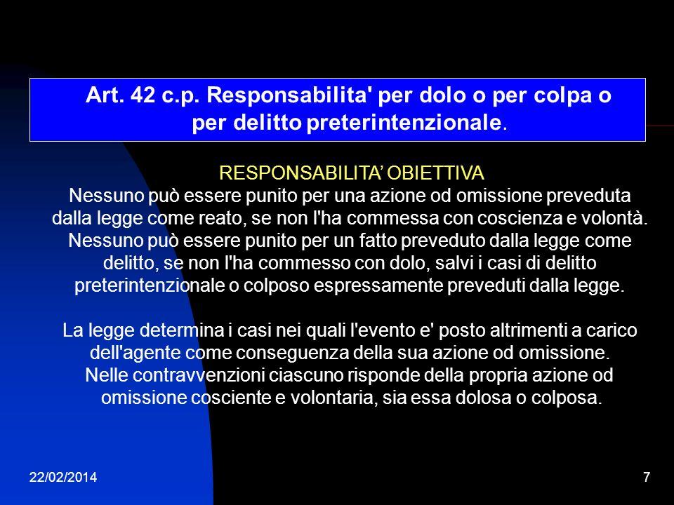22/02/20147 Art. 42 c.p. Responsabilita' per dolo o per colpa o per delitto preterintenzionale. RESPONSABILITA OBIETTIVA Nessuno può essere punito per