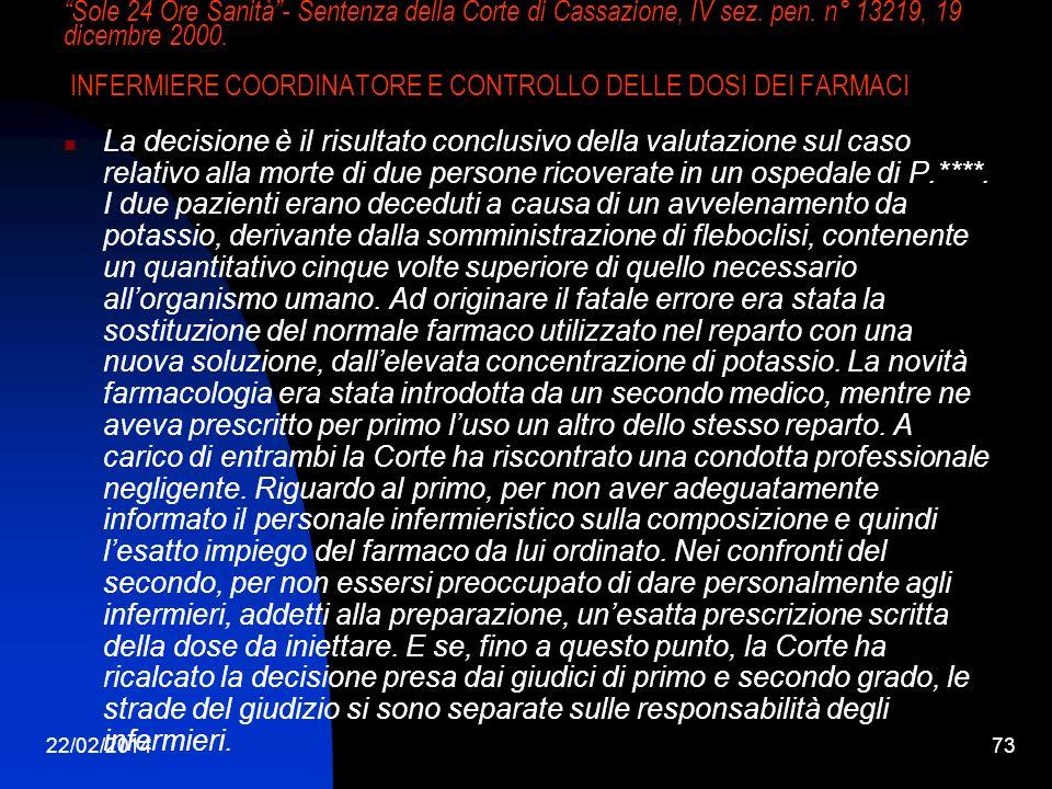 22/02/201473 Sole 24 Ore Sanità- Sentenza della Corte di Cassazione, IV sez. pen. n° 13219, 19 dicembre 2000. INFERMIERE COORDINATORE E CONTROLLO DELL