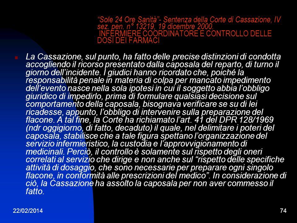 22/02/201474 Sole 24 Ore Sanità- Sentenza della Corte di Cassazione, IV sez. pen. n° 13219, 19 dicembre 2000. INFERMIERE COORDINATORE E CONTROLLO DELL