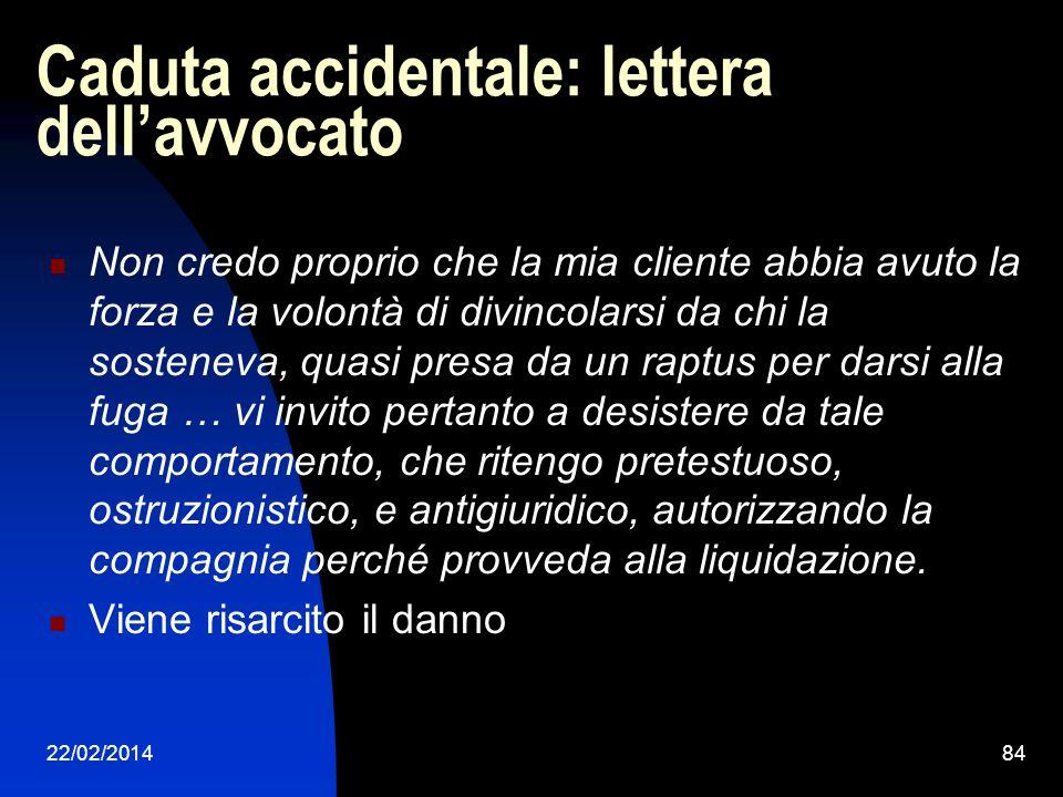 22/02/201484 Caduta accidentale: lettera dellavvocato Non credo proprio che la mia cliente abbia avuto la forza e la volontà di divincolarsi da chi la