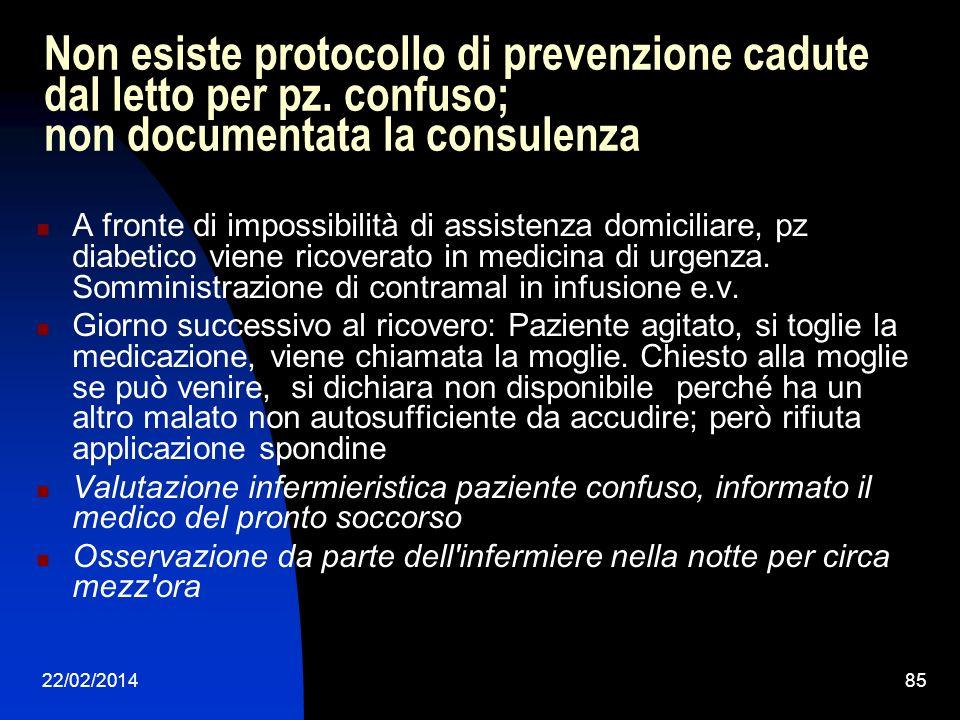 22/02/201485 Non esiste protocollo di prevenzione cadute dal letto per pz. confuso; non documentata la consulenza A fronte di impossibilità di assiste