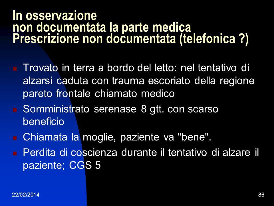 22/02/201486 In osservazione non documentata la parte medica Prescrizione non documentata (telefonica ?) Trovato in terra a bordo del letto: nel tenta