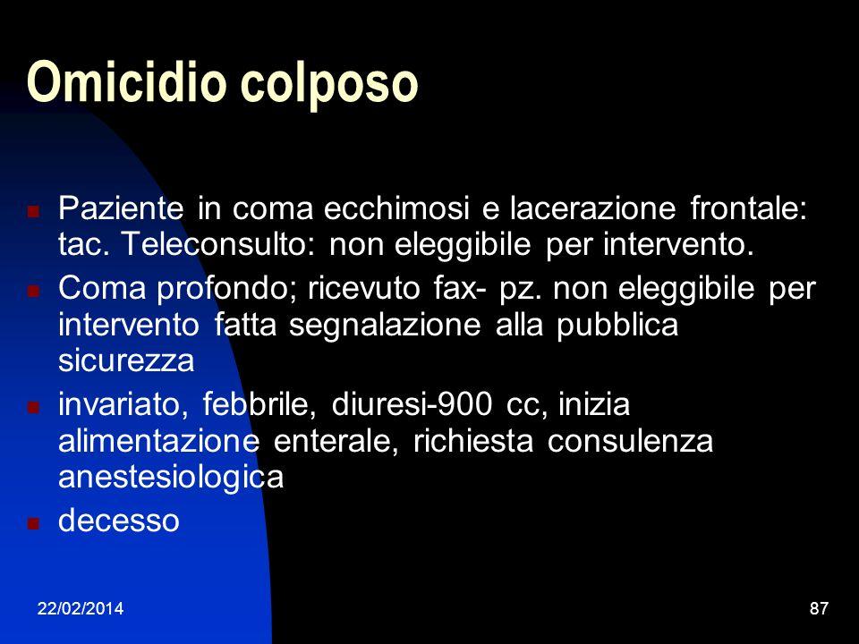 22/02/201487 Omicidio colposo Paziente in coma ecchimosi e lacerazione frontale: tac.