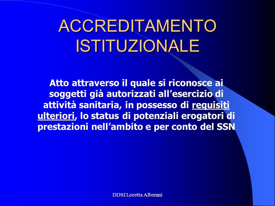 DDSI Loretta Alberani ACCREDITAMENTO ISTITUZIONALE Atto attraverso il quale si riconosce ai soggetti già autorizzati allesercizio di attività sanitari