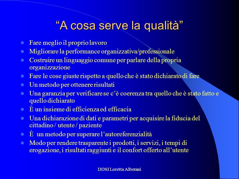 DDSI Loretta Alberani A cosa serve la qualità Fare meglio il proprio lavoro Migliorare la performance organizzativa/professionale Costruire un linguag