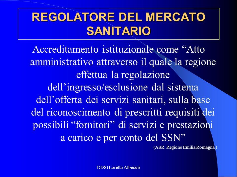 DDSI Loretta Alberani REGOLATORE DEL MERCATO SANITARIO Accreditamento istituzionale come Atto amministrativo attraverso il quale la regione effettua l