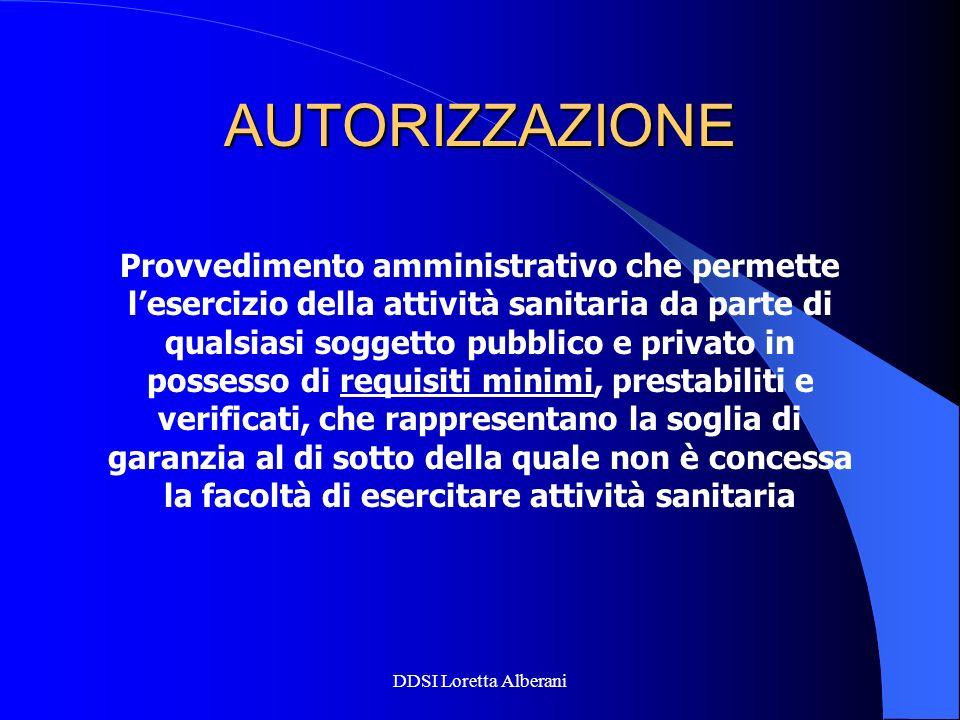 DDSI Loretta Alberani AUTORIZZAZIONE Provvedimento amministrativo che permette lesercizio della attività sanitaria da parte di qualsiasi soggetto pubb