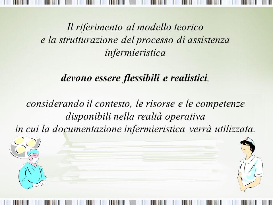 Il riferimento al modello teorico e la strutturazione del processo di assistenza infermieristica devono essere flessibili e realistici, considerando il contesto, le risorse e le competenze disponibili nella realtà operativa in cui la documentazione infermieristica verrà utilizzata.