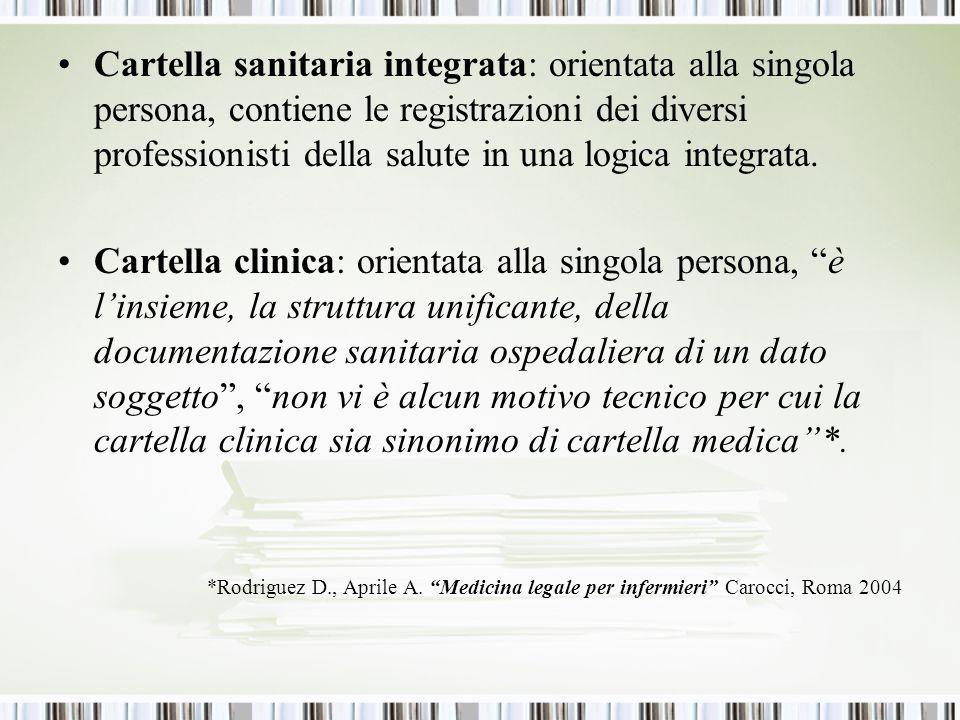 Cartella sanitaria integrata: orientata alla singola persona, contiene le registrazioni dei diversi professionisti della salute in una logica integrata.