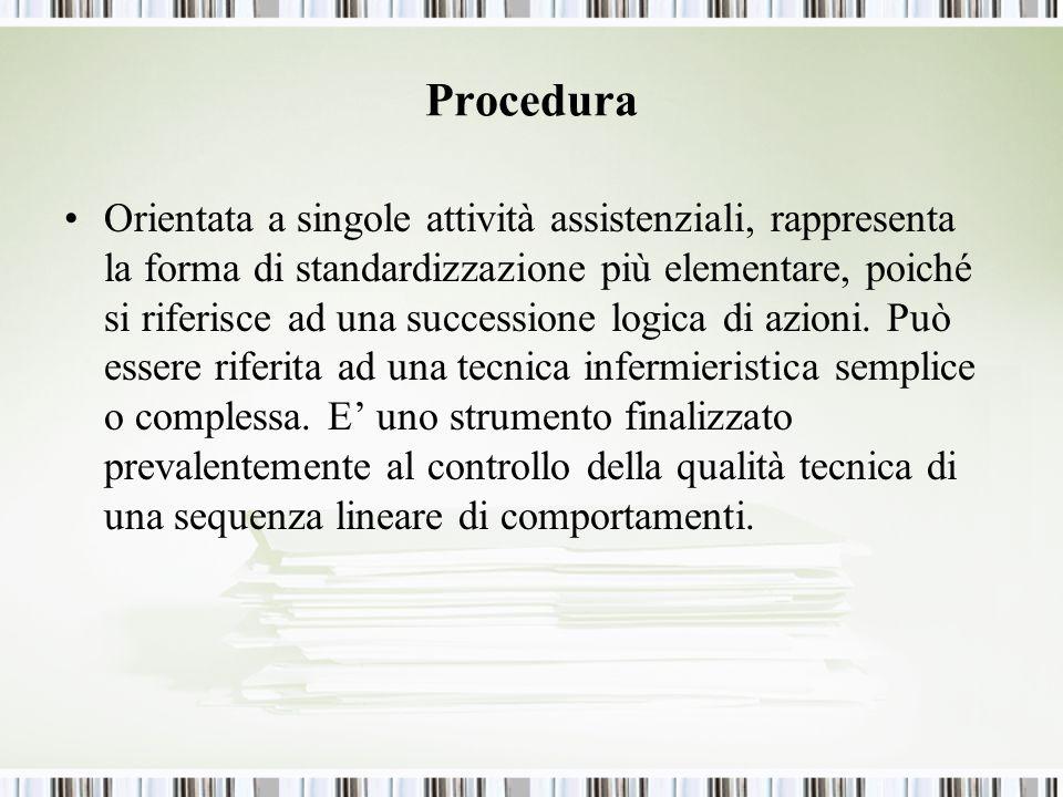 Procedura Orientata a singole attività assistenziali, rappresenta la forma di standardizzazione più elementare, poiché si riferisce ad una successione logica di azioni.