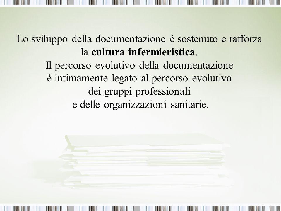Lo sviluppo della documentazione è sostenuto e rafforza la cultura infermieristica.