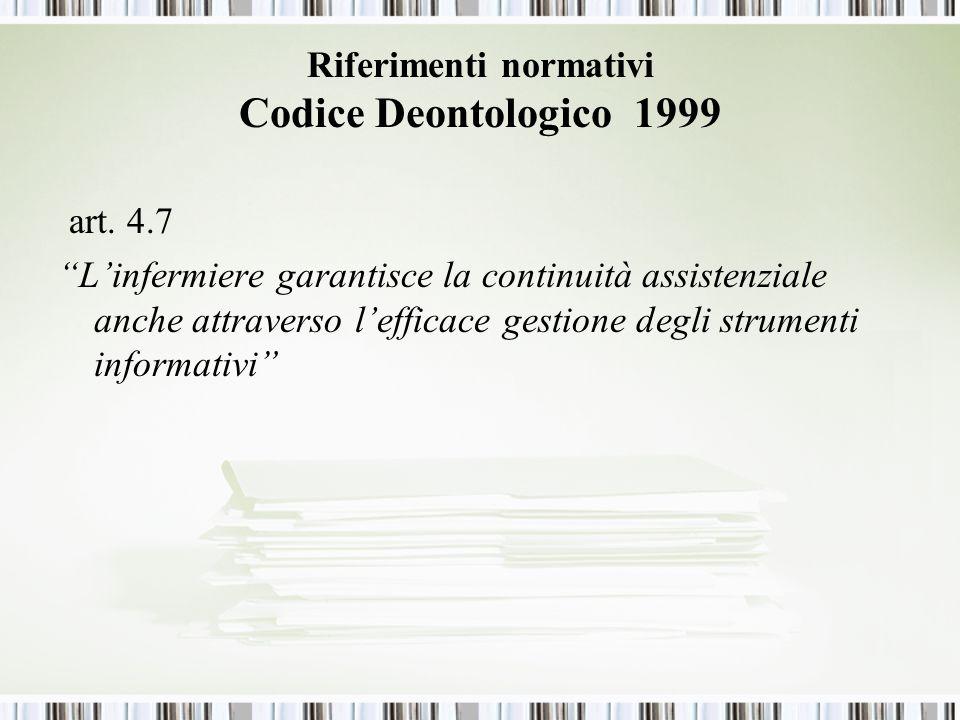 Riferimenti normativi Codice Deontologico 1999 art.