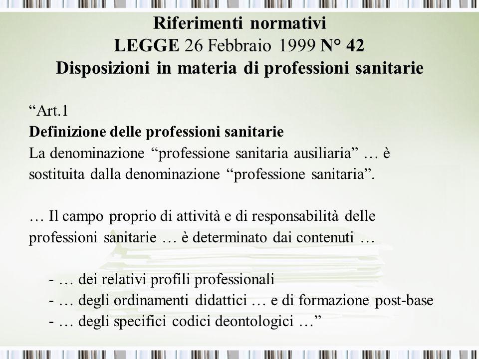 Riferimenti normativi LEGGE 26 Febbraio 1999 N° 42 Disposizioni in materia di professioni sanitarie Art.1 Definizione delle professioni sanitarie La denominazione professione sanitaria ausiliaria … è sostituita dalla denominazione professione sanitaria.