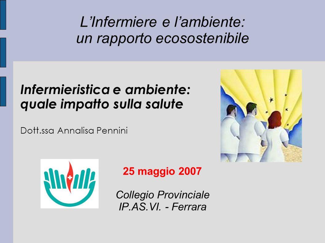 LInfermiere e lambiente: un rapporto ecosostenibile 25 maggio 2007 Collegio Provinciale IP.AS.VI. - Ferrara Infermieristica e ambiente: quale impatto