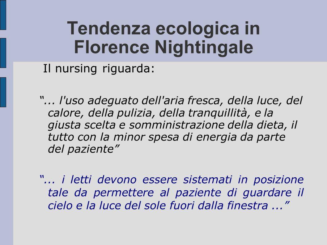 Tendenza ecologica in Florence Nightingale Il nursing riguarda:... l'uso adeguato dell'aria fresca, della luce, del calore, della pulizia, della tranq
