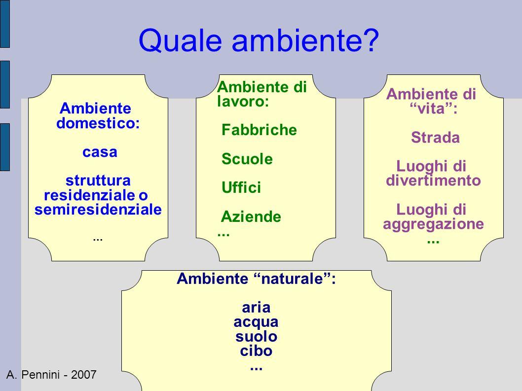 Quale ambiente? Ambiente domestico: casa struttura residenziale o semiresidenziale... Ambiente di lavoro: Fabbriche Scuole Uffici Aziende... Ambiente