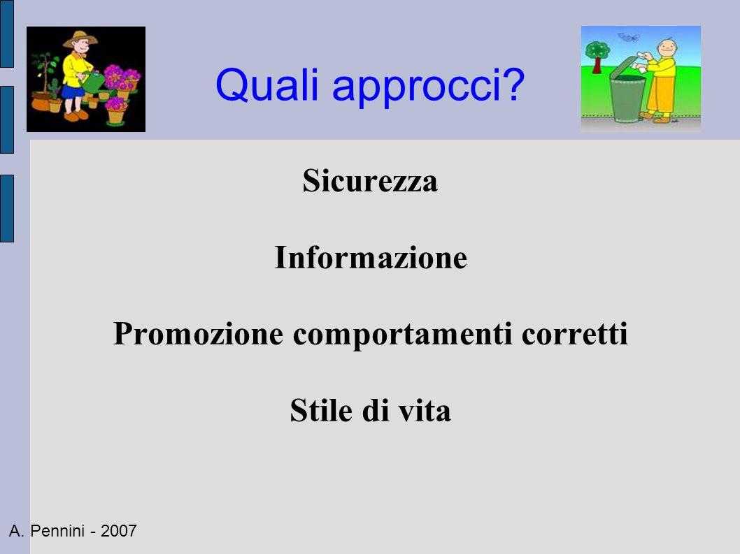 Quali approcci? Sicurezza Informazione Promozione comportamenti corretti Stile di vita A. Pennini - 2007