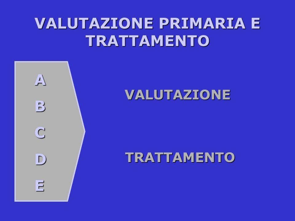 VALUTAZIONE PRIMARIA E TRATTAMENTO ABCDE VALUTAZIONE TRATTAMENTO