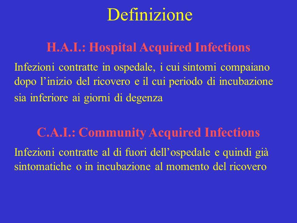 Definizione H.A.I.: Hospital Acquired Infections Infezioni contratte in ospedale, i cui sintomi compaiano dopo linizio del ricovero e il cui periodo d